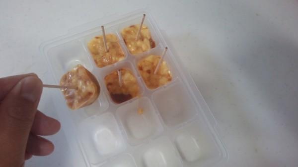 製氷皿に入れて凍らせたプリン